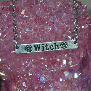 Jewelry - Witch Pentagrams Engraved Bar Necklace